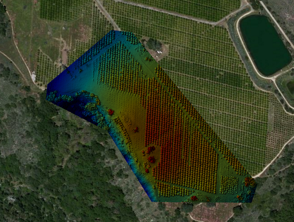 NDVI map produced by aerial drone photography